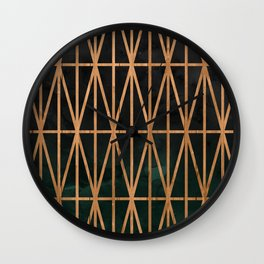 Wood geometric triangles on gray charcoal green forest ombre watercolor Wall Clock