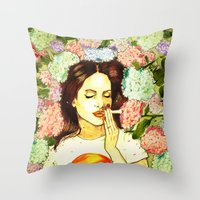 ultraviolence Throw Pillows featuring Hydranges and Peyote by Robert Red ART