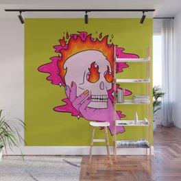Skull on Fire Wall Mural