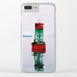 Sea Lions Lounging Clear iPhone Case