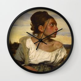 Eugne Delacroix - Young orphan girl in the cemetery Wall Clock