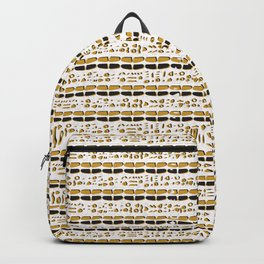 Yellow and White Abstract Drawn Cryptic Symbols Backpack