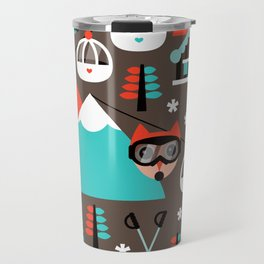 Winter Wonderland retro ski fox Travel Mug