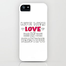 Love Quote Design, Colorful Hearts, Rainbows and Flowers (14) iPhone Case