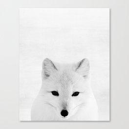 White fox, Woodland, Animal, ZOO, Nursery, Minimal, Modern, Wall art Canvas Print