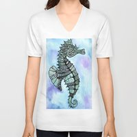 tatoo V-neck T-shirts featuring Tatoo Seahorse by PepperDsArt