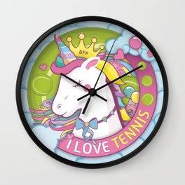 Girls Tennis Player Team Pink and Green Unicorn Wall Clock