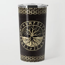 Tree of life  -Yggdrasil and  Runes on wooden texture Travel Mug