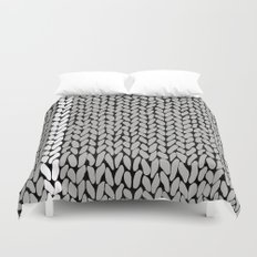 Grey Knit With White Stripe Duvet Cover