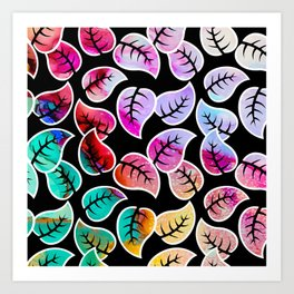 Ink Colored Leaves On Black Art Print