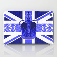 british flag iPad Cases featuring Royal Blue - British Flag & Crown by Ornaart
