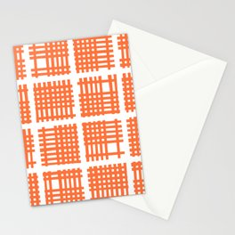 Mid Century Modern Abstract Squares Orange Stationery Cards