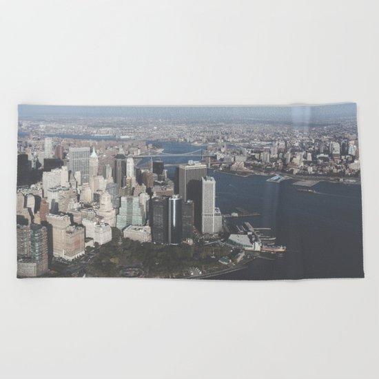 NYC Downtown Aerial Beach Towel