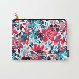 Happy Red Flower Collage Carry-All Pouch