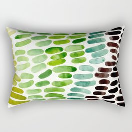 Lime Green Olive Green Aqua Green Natural Patterns Colorful Watercolor Abstract Art Mid Century Mode Rectangular Pillow