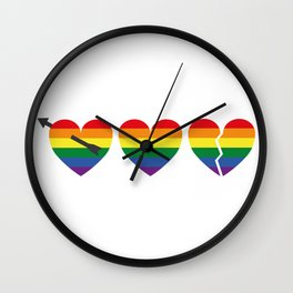 Hearts with gay flag (gay pride) Wall Clock
