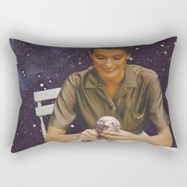 Woman peeling the Earth - Bon Appetit - Collage  Rectangular Pillow