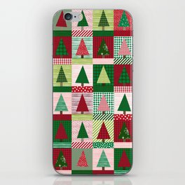 Christmas tree forest quilt pattern cute red and green holiday gifts iPhone Skin
