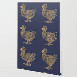 Gold dodo on patriot blue Wallpaper
