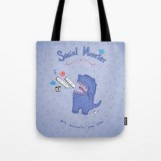 Social Monster Blue Tote Bag