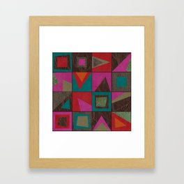 squares of colors and shreds Framed Art Print