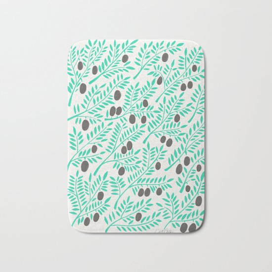 Olive Branches – Turquoise & Black Palette Bath Mat