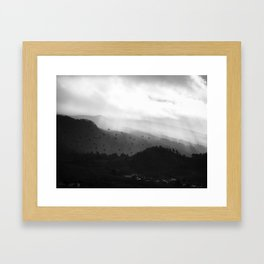 A foggy day in the hills Framed Art Print