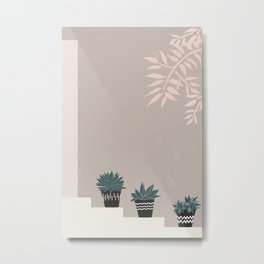 Succulents in boho pots on stairs Metal Print