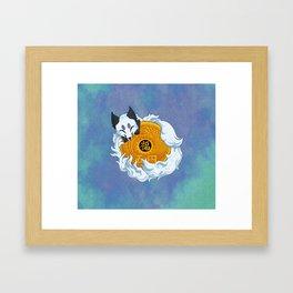 Lucky fox coin (white/blue) Framed Art Print