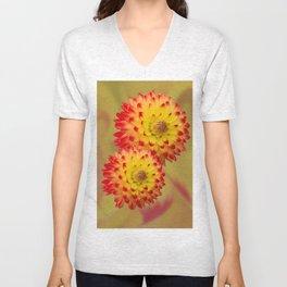 Dahlia Abstract Unisex V-Neck