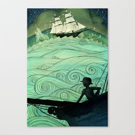 Sailing The Stormy Night Seas Canvas Print