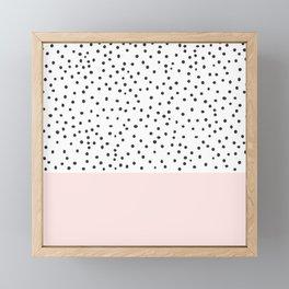 Pastel pink black watercolor polka dots pattern Framed Mini Art Print