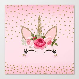 Pink & Gold Cute Floral Unicorn Canvas Print