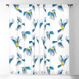 Flying Blue Tit / Bird Pattern Blackout Curtain