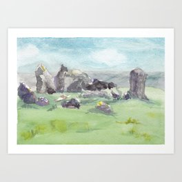 Loughcrew cairns stone circle watercolor painting of Ireland Art Print