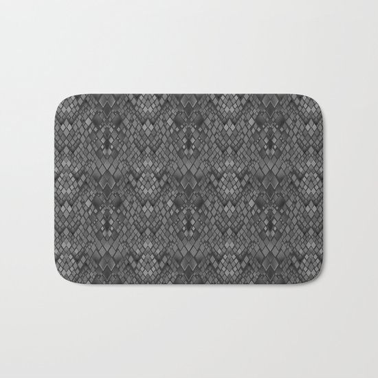 Abstract and faux crocodile skin .Texture Dark gray . Bath Mat