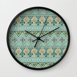 Bohemian Aztek pattern in Gold & Green Wall Clock