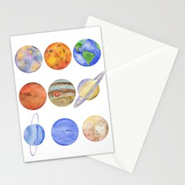 Solar System Watercolor Planets Stationery Cards