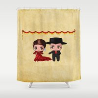 spanish Shower Curtains featuring Spanish Chibis by artwaste