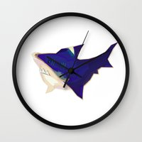 kevin russ Wall Clocks featuring Anxious Kevin by Shay Ho