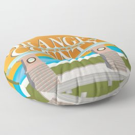Orange County, California - Skyline Illustration by Loose Petals Floor Pillow