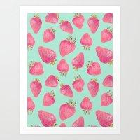strawberry Art Prints featuring Strawberry  by Marta Olga Klara