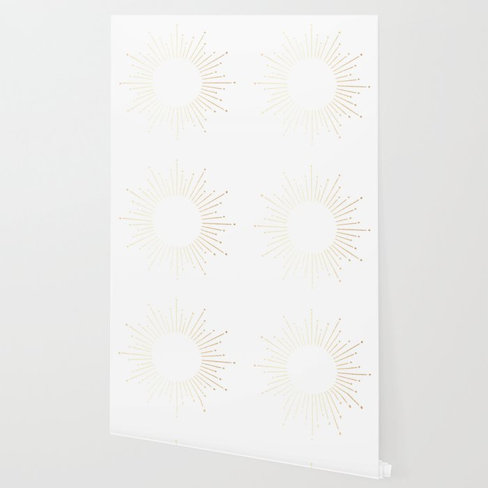 Sunburst Gold Copper Bronze on White Wallpaper