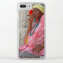 Cuban Lady Smokin in Havana Streets Clear iPhone Case