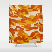 military Shower Curtains featuring Orange Military Camouflage Pattern by SW Creation