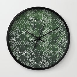 Indonesian Batik Green Fish Pattern Wall Clock