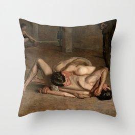 Wrestlers by Thomas Eakins Throw Pillow