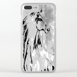 HORSE BLACK AND WHITE Clear iPhone Case