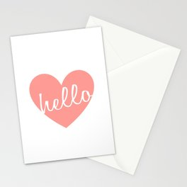 Hello Heart Wall Art #5 Pink Heart Stationery Cards