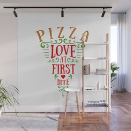 Pizza Slice. Love At First Bite. Lettering Wall Mural